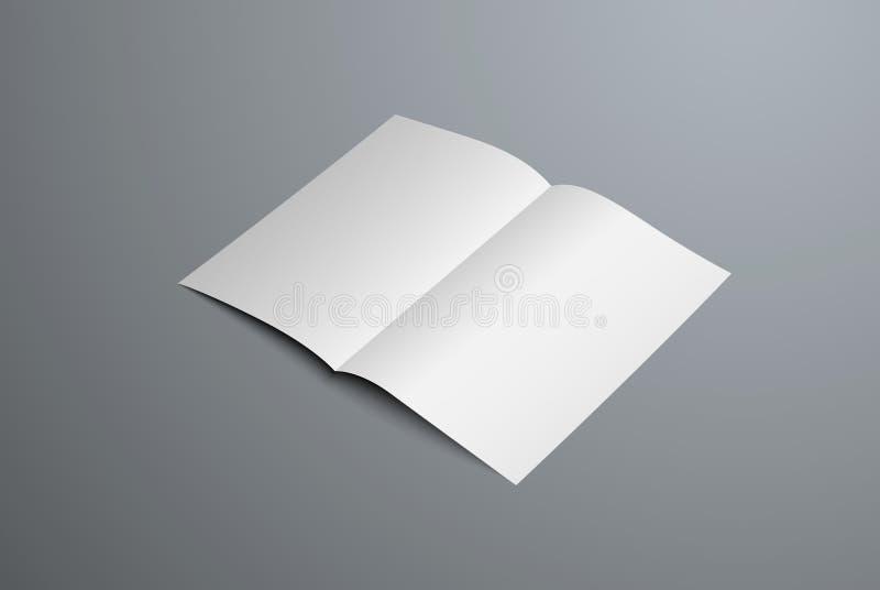 Maquette réaliste de vecteur de livret ouvert de Bi-pli Calibre vide blanc d'en-tête de lettre pour la présentation de conception illustration libre de droits
