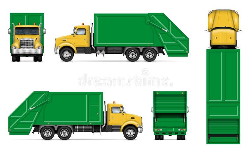 Maquette r?aliste de vecteur de camion ? ordures illustration stock