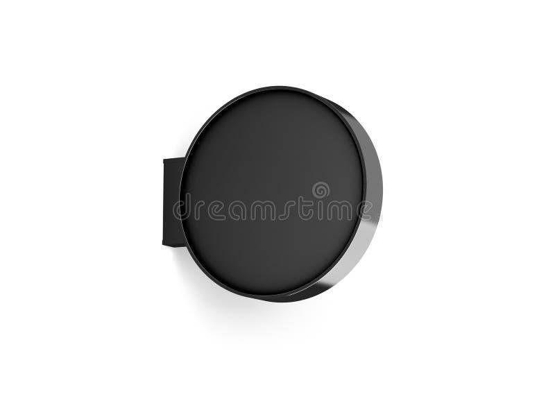 Maquette ronde noire vide de conception de signage de magasin d'isolement illustration de vecteur