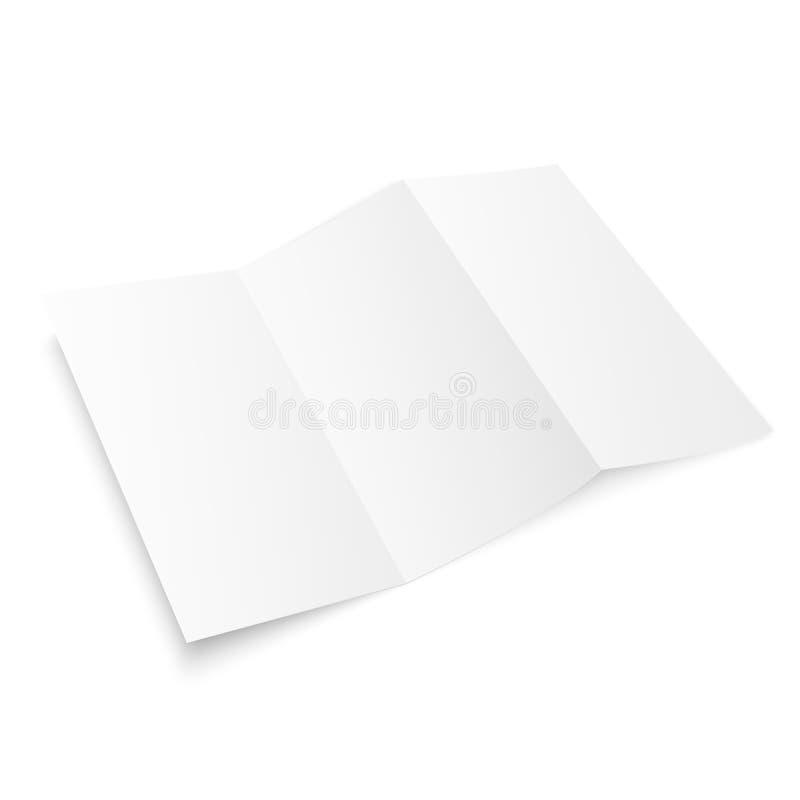 Maquette triple de brochure Papier blanc de calibre de brochure vide Brochure de papier de trois fois pour votre conception Vecte illustration stock