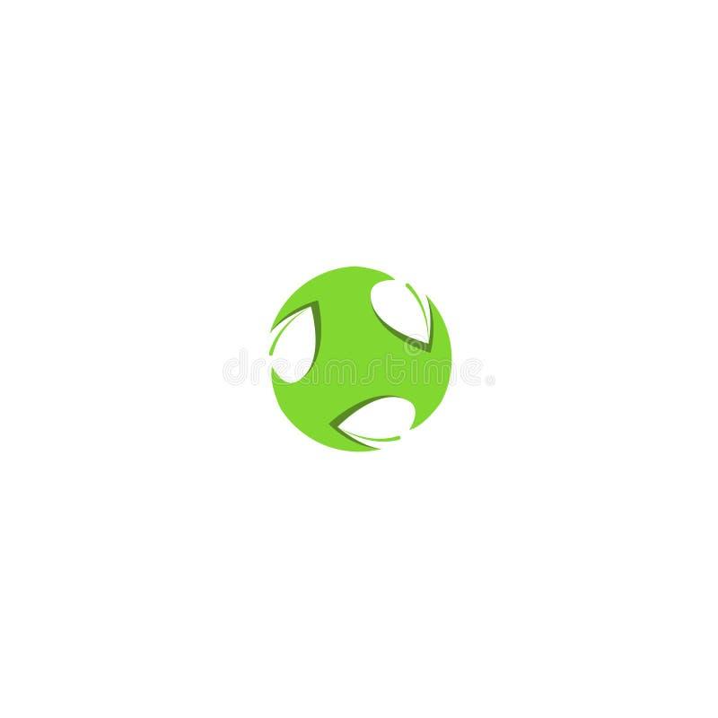 Maquette vert clair d'élément de conception de cercle de forme de logo de feuille, globe abstrait avec l'usine de feuilles, bio c illustration de vecteur