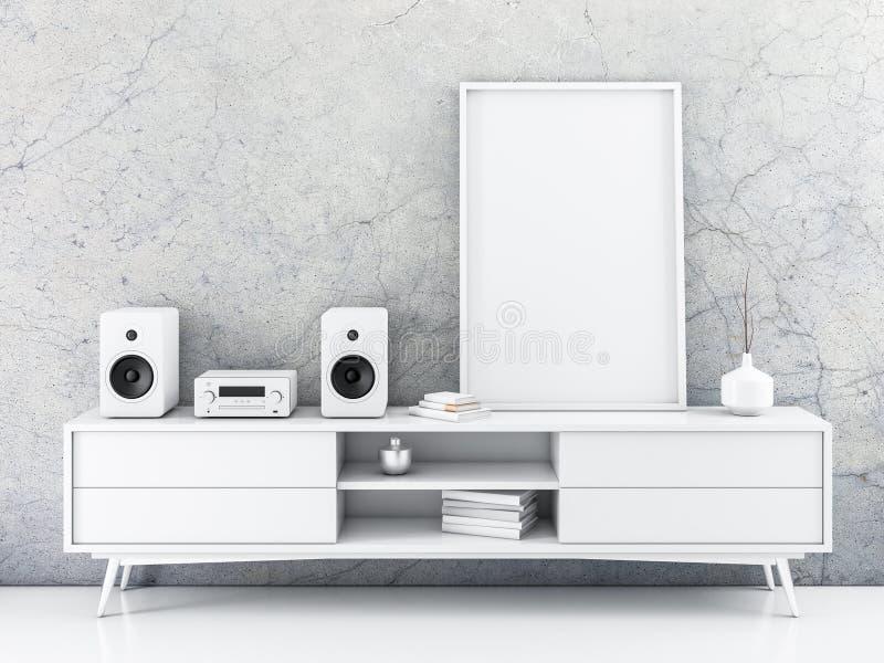 Maquette verticale d'affiche de toile avec la position de cadre sur le bureau illustration de vecteur