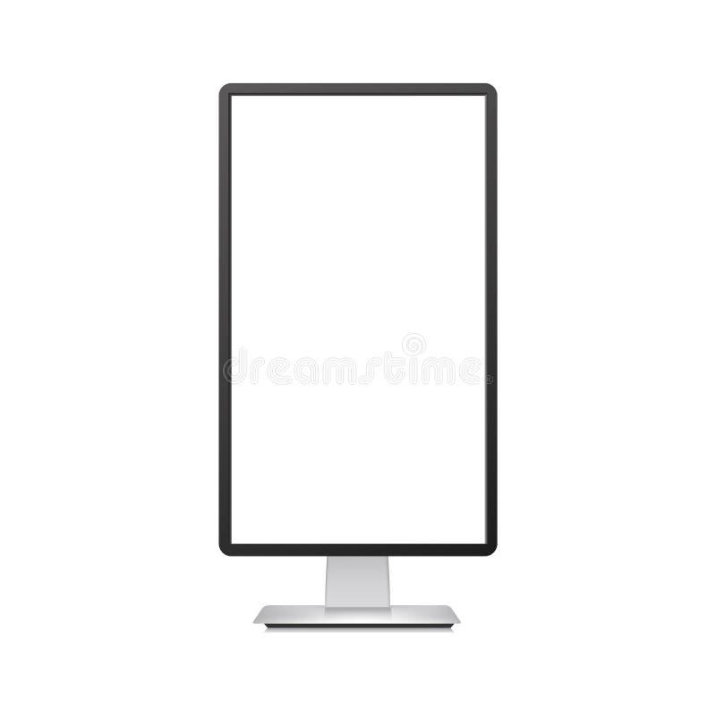 Maquette verticale réaliste de moniteur de TV avec l'écran blanc Vecteur illustration libre de droits