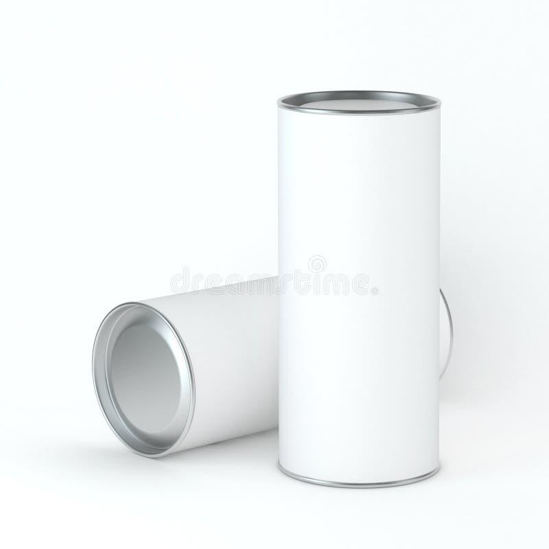 Maquette vide blanche d'emballage de la boîte deux en fer blanc pour le thé, café, produits secs, boîte-cadeau Placez votre conce illustration libre de droits