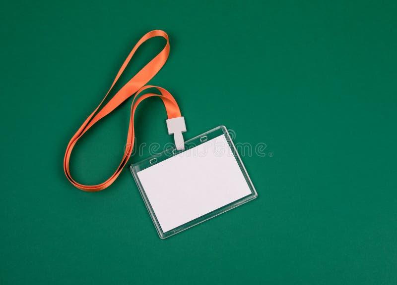 Maquette vide d'identité de personnel avec la lanière orange photos libres de droits