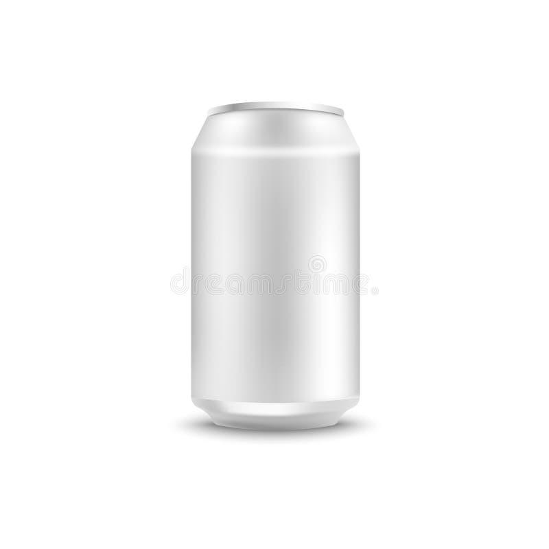 Maquette vide de boîte en aluminium pour la soude ou bière dans le style 3d réaliste illustration stock