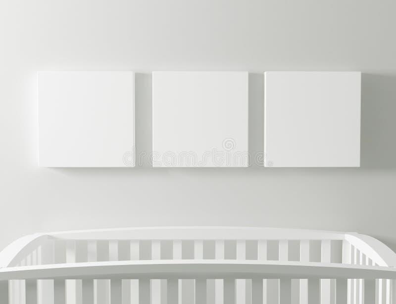 Maquette vide de toile avec le berceau de bébé illustration libre de droits