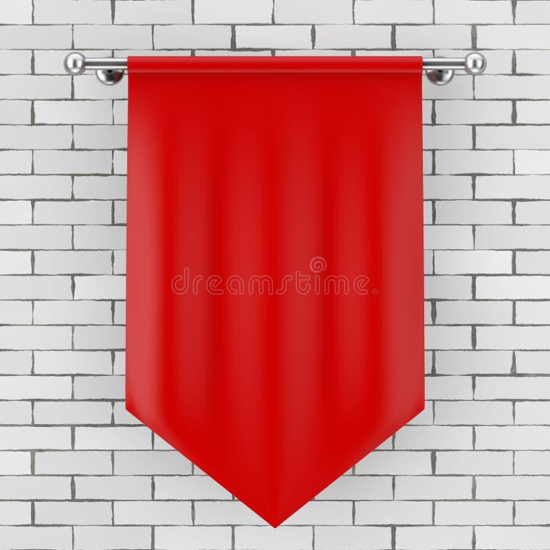Maquette vide rouge de drapeau de tissu rendu 3d illustration libre de droits