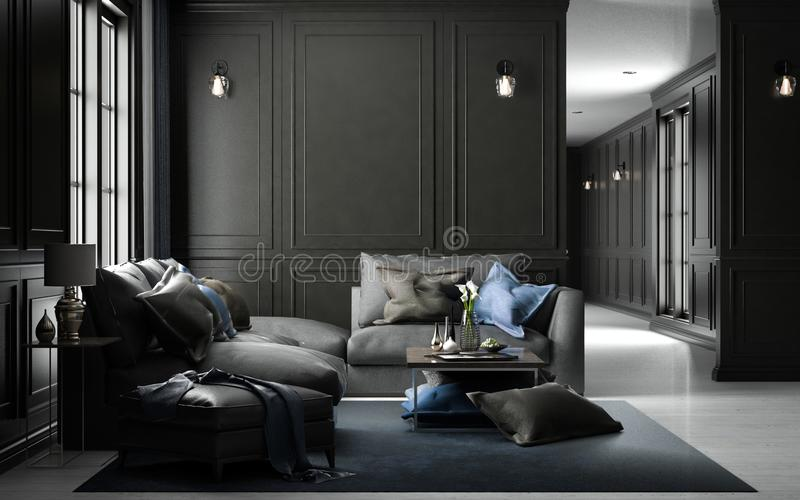 Maquette vivante intérieure de studio, style classique noir, renderin 3D illustration libre de droits