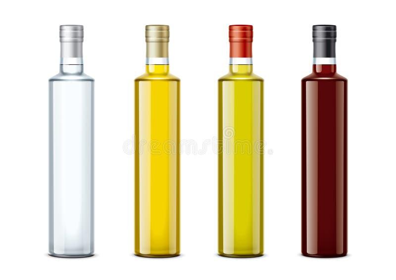 Maquettes de bouteilles pour le pétrole et d'autres nourritures illustration libre de droits