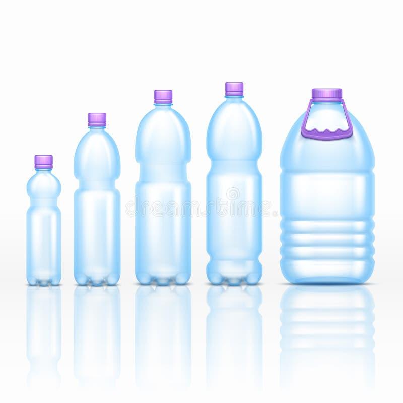 Maquettes en plastique réalistes de bouteilles de boissons d'isolement sur l'ensemble blanc de vecteur de fond illustration de vecteur