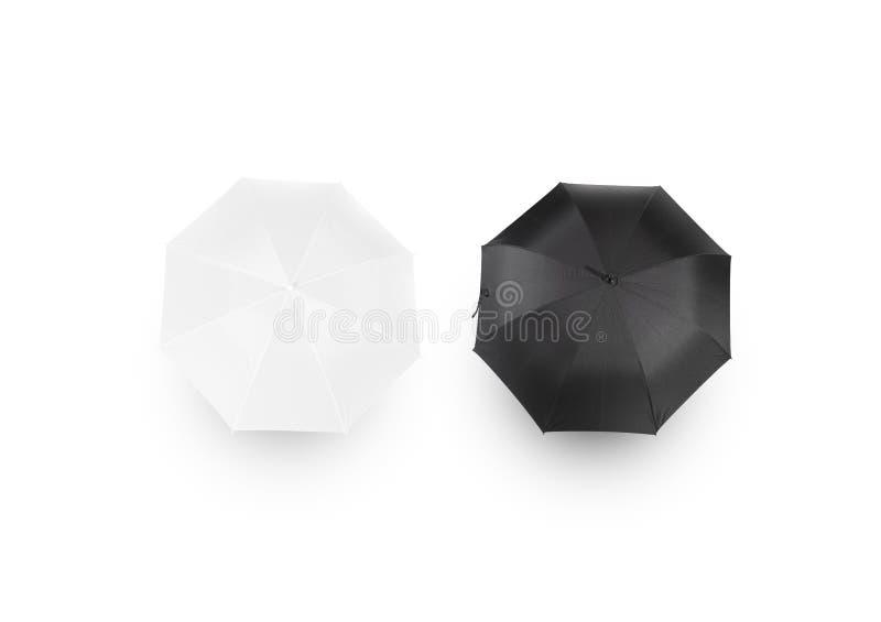 Maquettes noires et blanches de parapluie, vue d'isolement et supérieure photographie stock libre de droits