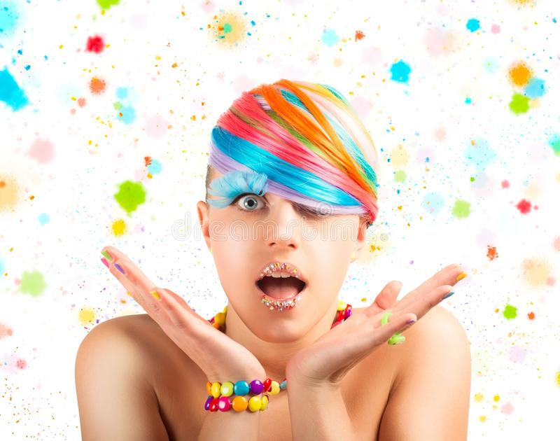 Maquillage coloré de mode d'arc-en-ciel photographie stock