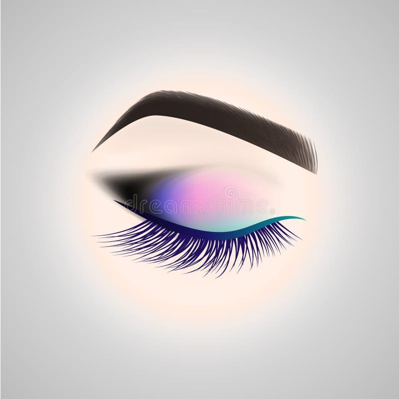 Maquillage d'oeil Oeil fermé avec de longs cils illustration de vecteur