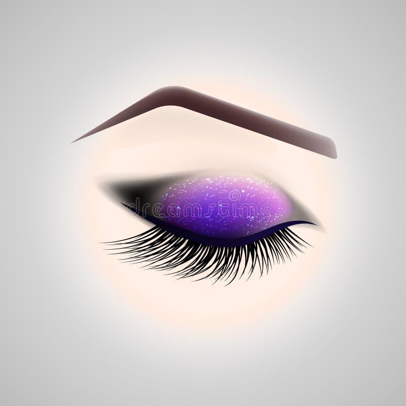 Maquillage d'oeil Oeil fermé avec de longs cils illustration libre de droits
