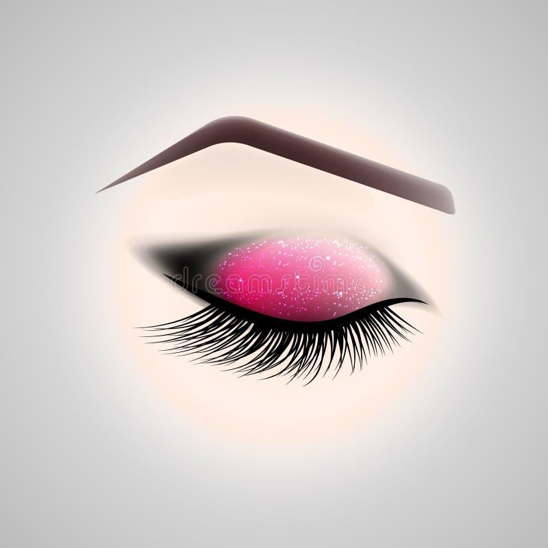 Maquillage d'oeil Oeil fermé avec de longs cils illustration stock