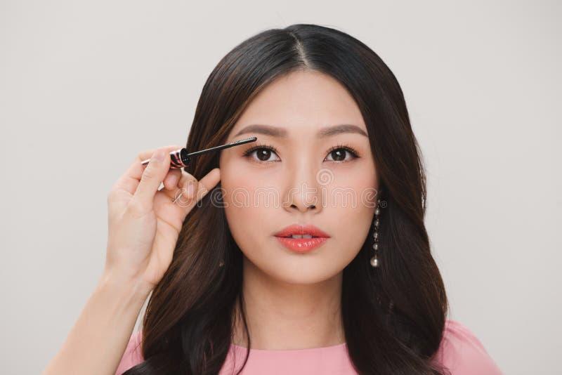 Maquillage de beauté Portrait de belle jeune femme avec faux Eyel image libre de droits