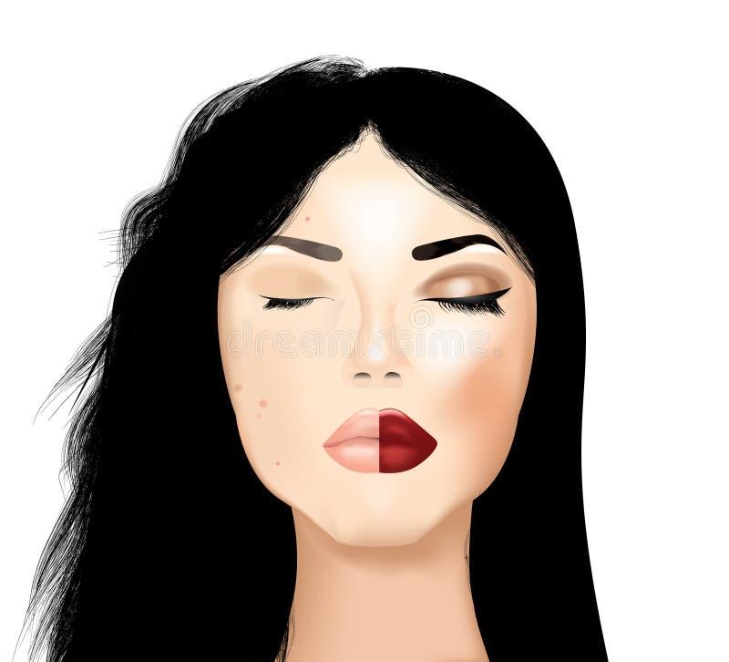 Maquillage et cheveux avant et après photos libres de droits