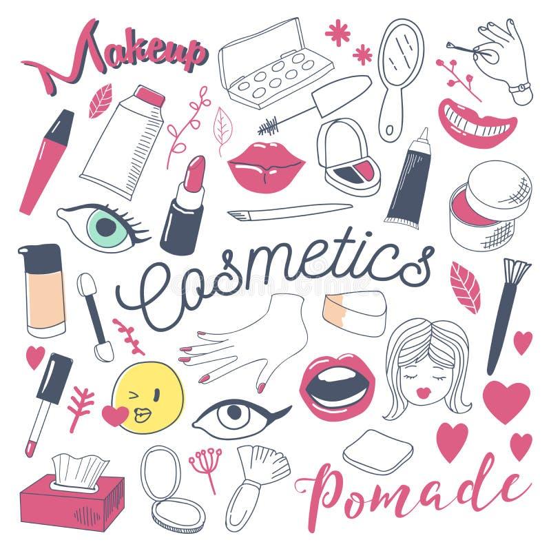 Maquillage et griffonnage à main levée de beauté de cosmétiques Ensemble d'éléments tiré par la main de mode de femme illustration de vecteur