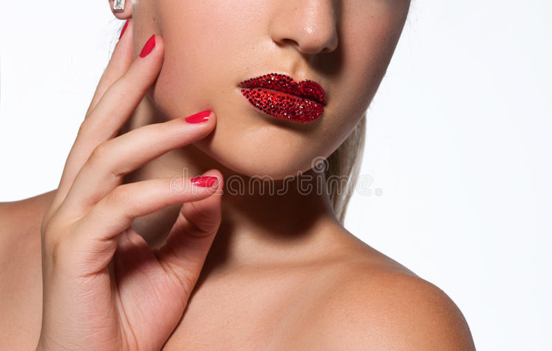Maquillage et manucure photo stock