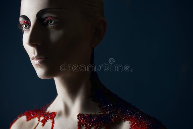 Maquillage foncé de beauté images stock