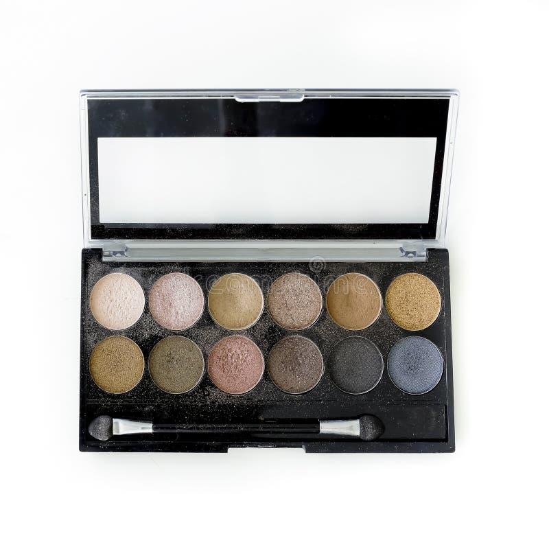Maquillage, palette colorée de fards à paupières images stock