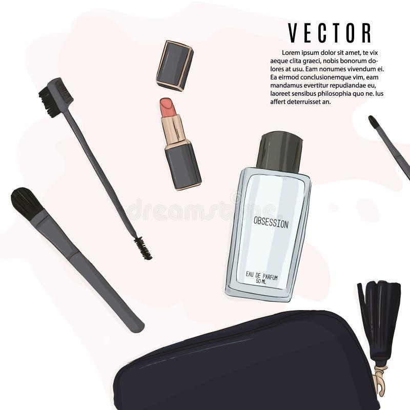 Maquillage réglé : le rouge à lèvres, les brosses, le sac cosmétique et le parfum esquissent l'illustration Produits cosmétiques  illustration de vecteur
