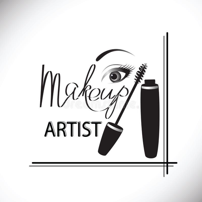 Maquillage, tube de mascara, brosse et oeil d'isolement au-dessus du fond blanc illustration stock