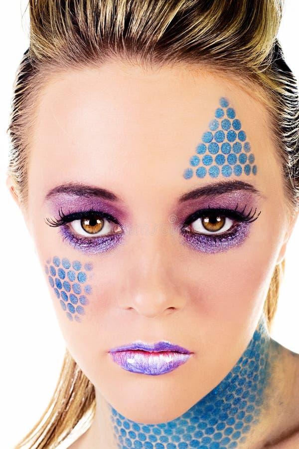 Maquillaje azul imagen de archivo