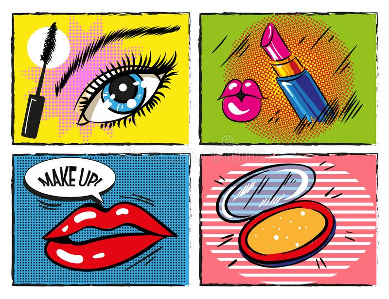 Maquillaje cómico del arte pop del vintage del vector y elementos cosméticos del diseño stock de ilustración
