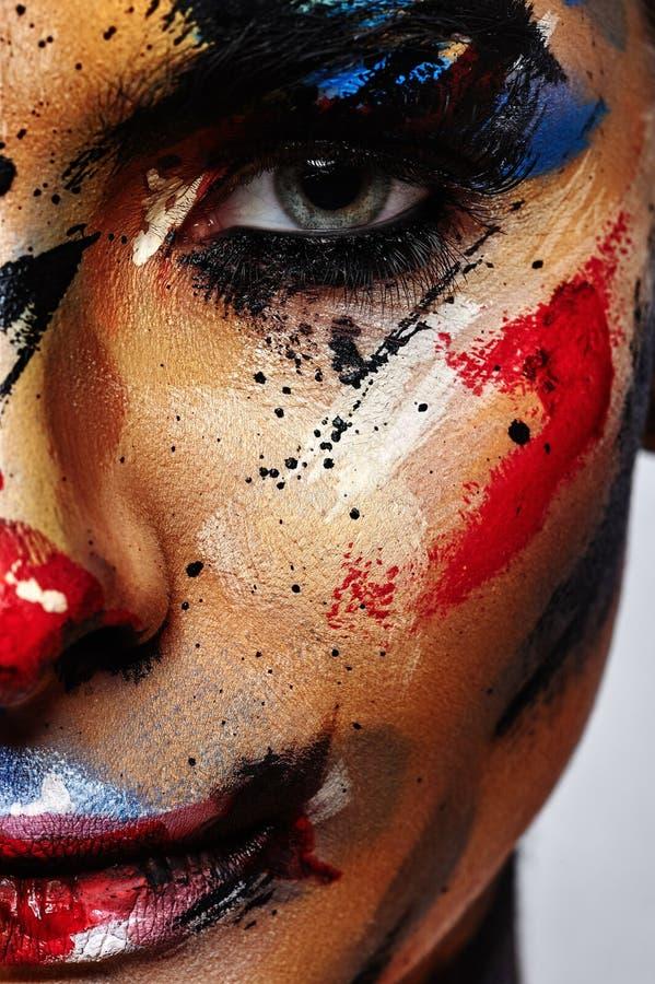 Maquillaje creativo de Halloween del payaso fantasmagórico fotografía de archivo libre de regalías