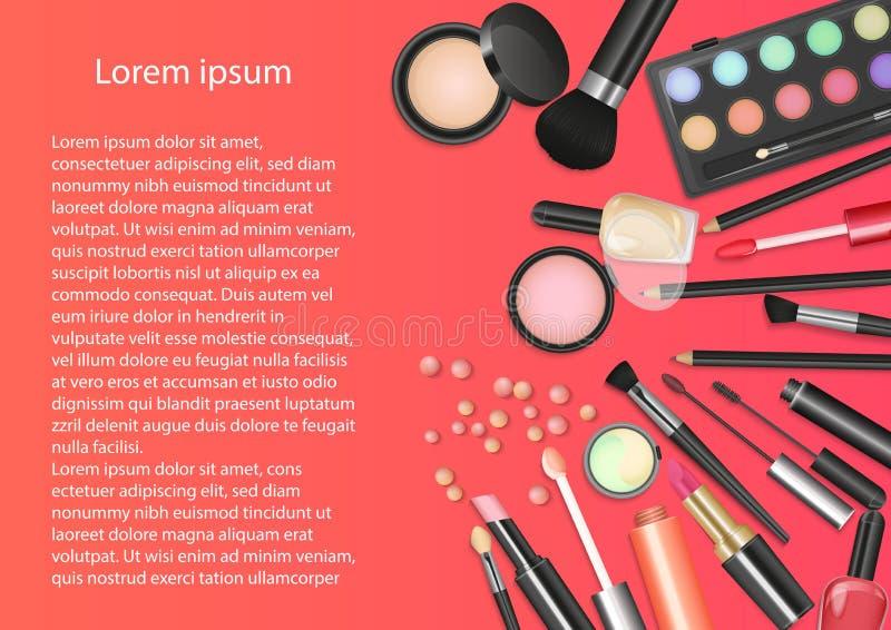 Maquillaje de los cosméticos de la belleza con las herramientas cosméticas El fondo colorido de los cosméticos, los cepillos y el libre illustration