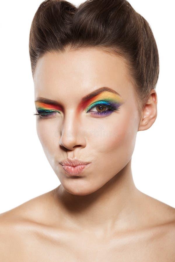 Maquillaje del arco iris imágenes de archivo libres de regalías