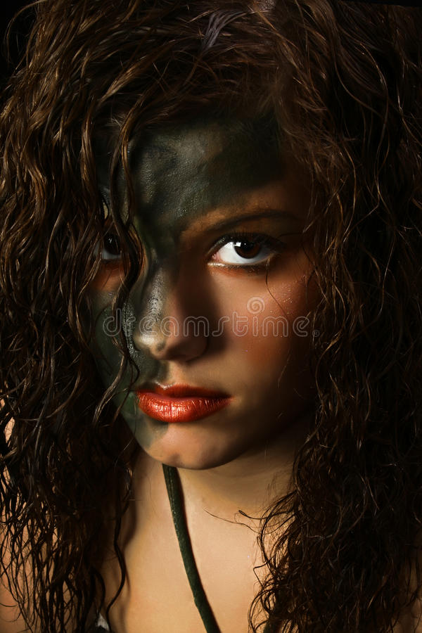 Maquillaje del camuflaje fotografía de archivo