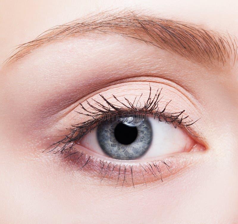 Maquillaje femenino de la cara con el ojo azul fotos de archivo
