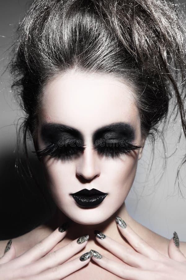 Maquillaje gótico fotografía de archivo libre de regalías