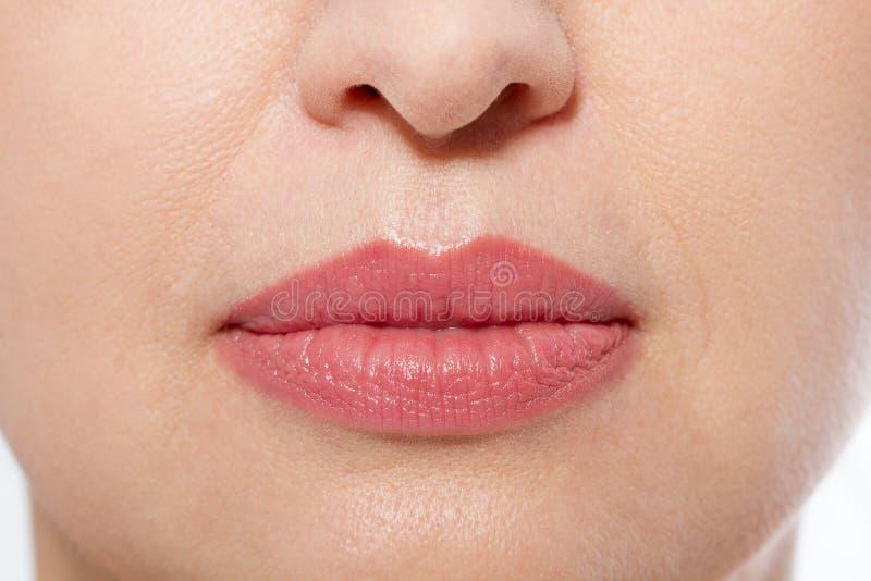 Maquillaje macro de los labios Ciérrese encima de boca femenina Labios llenos regordetes Poros del primer y detalles de la cara I fotografía de archivo