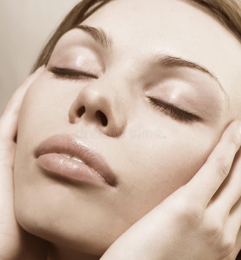 Maquillaje moderado en colores marrones imagen de archivo