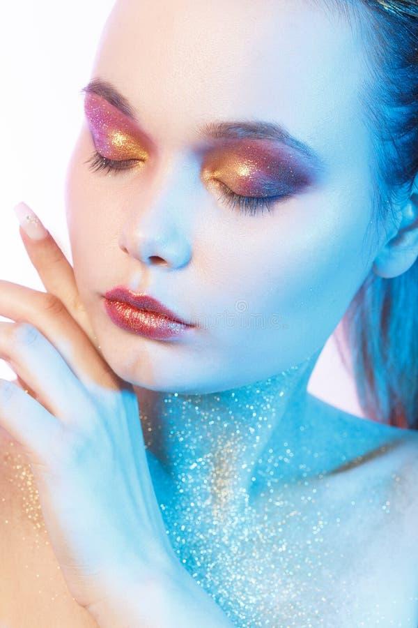 Maquillaje multicolor profesional imagen de archivo libre de regalías