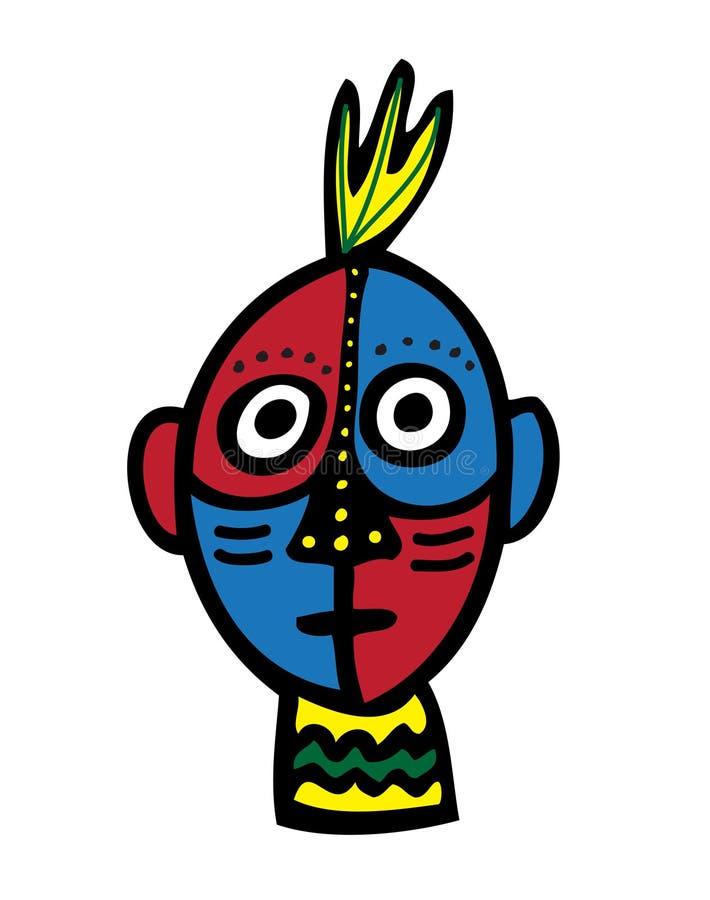 Cara tribal stock de ilustración