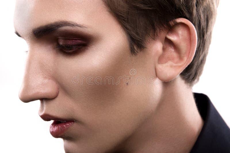Maquillaje rubio del hombre de la moda imagen de archivo libre de regalías