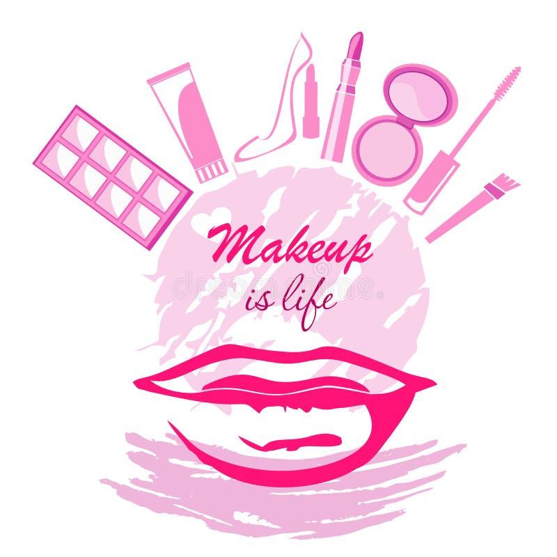Maquillaje si concepto de la vida con sombreador de ojos del rimel del cepillo de la crema de los labios stock de ilustración