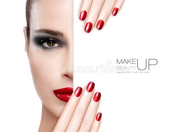 Maquillaje y clavo Art Concept de la belleza foto de archivo
