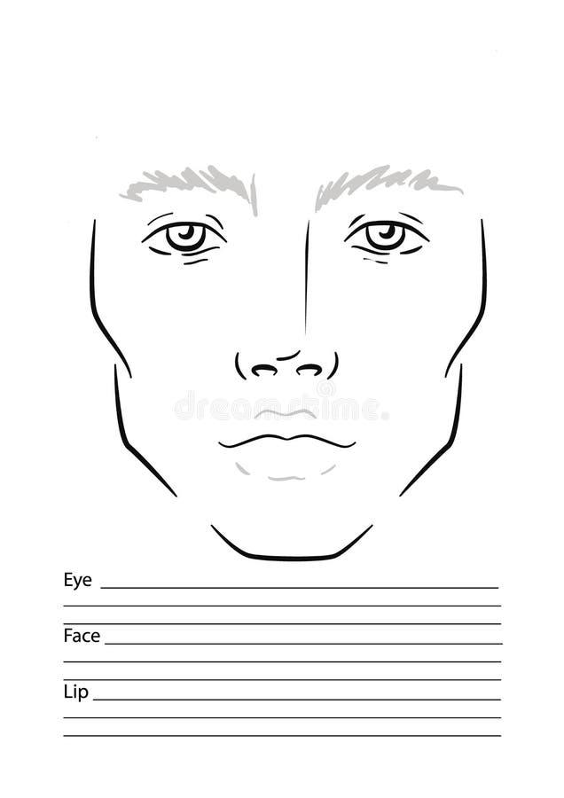 Maquilleur Blank de diagramme de visage d'homme descripteur illustration de vecteur