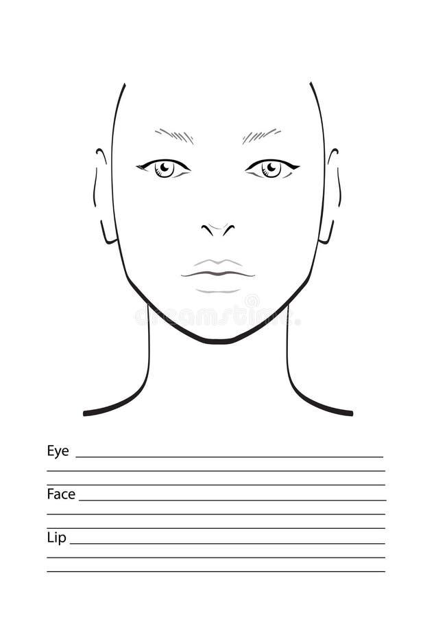 Maquilleur Blank de diagramme de visage descripteur illustration de vecteur