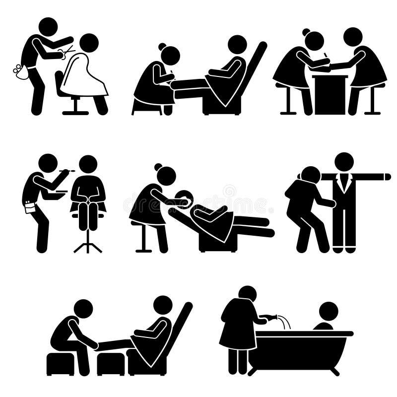 Maquilleur Spa Services Job Clipart de salon de beauté illustration de vecteur