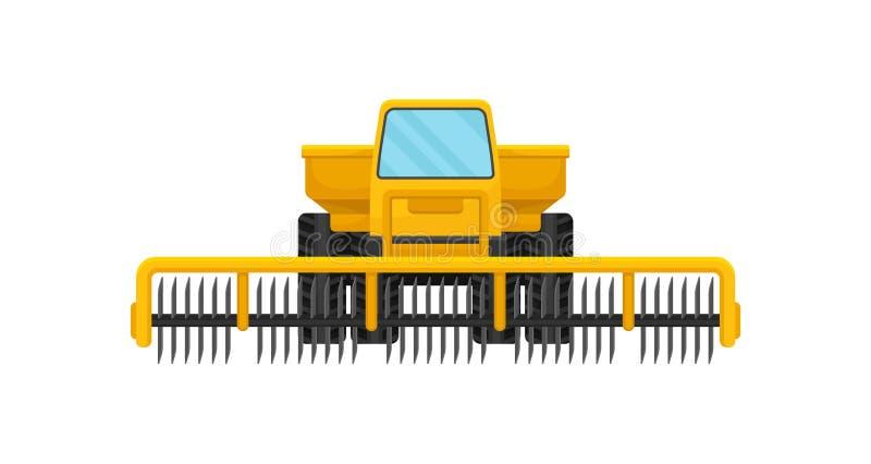 Maquinaria agrícola pesada com as lâminas de corte giratórias Veículo da exploração agrícola Equipamento profissional para trabal ilustração stock