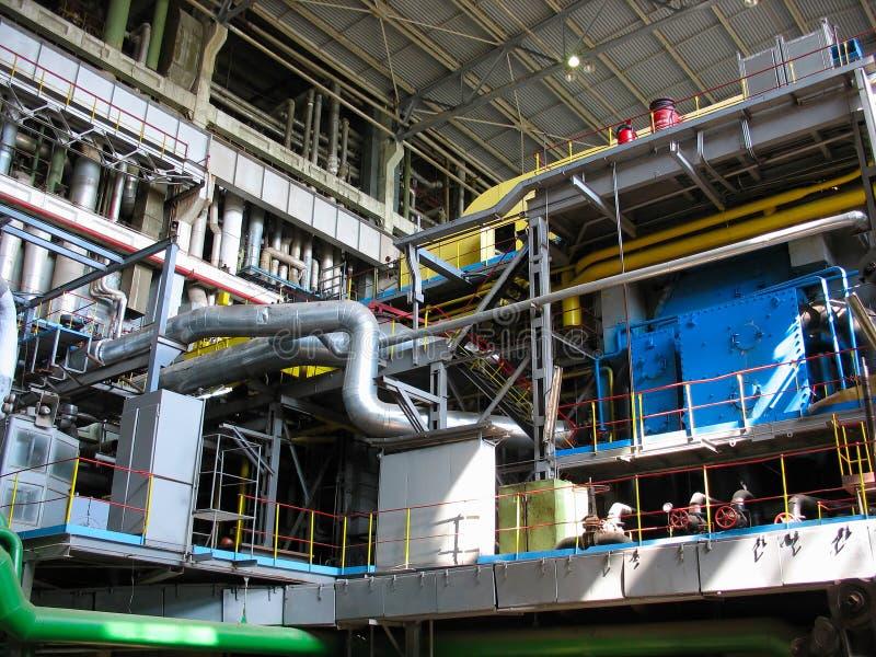 Maquinaria da turbina de vapor, tubulações, câmaras de ar, central energética foto de stock royalty free