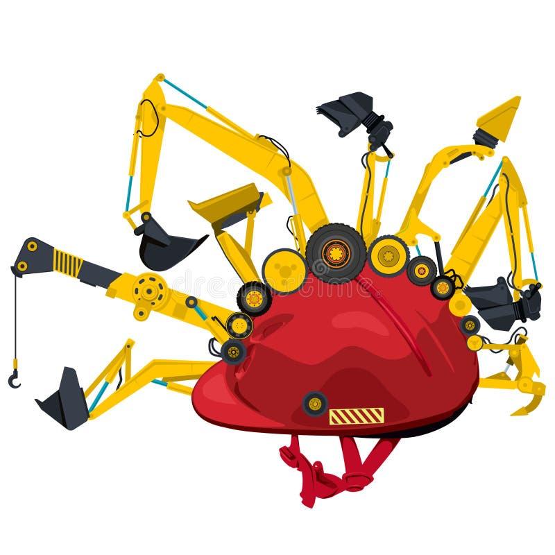 Maquinaria de construcción con el casco rojo La tierra amarilla trabaja los vehículos de las máquinas stock de ilustración