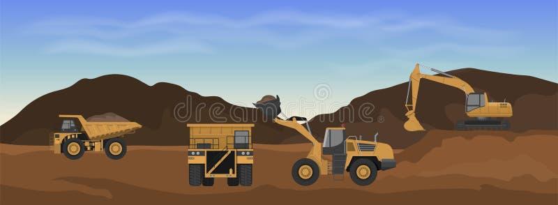 Maquinaria de la carrera Cargador, excavador y descargador de la rueda en mina Paisaje industrial Panorama del trabajo de la tier ilustración del vector